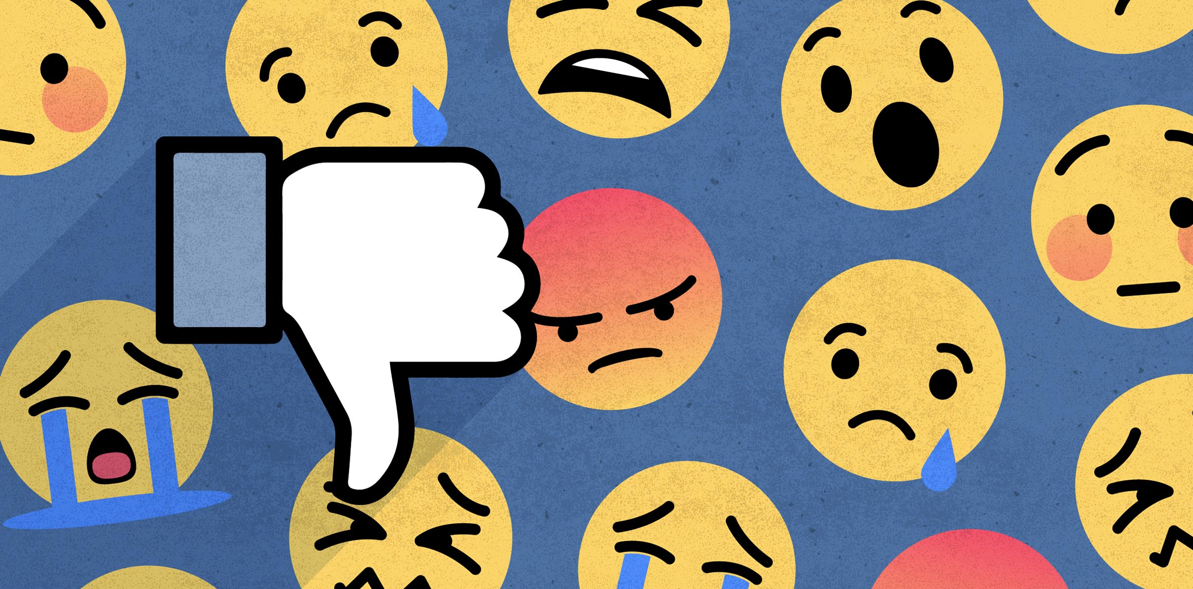 Image of facebook thumbdown hand overlaid on sad, angry, and scared emoji icons.