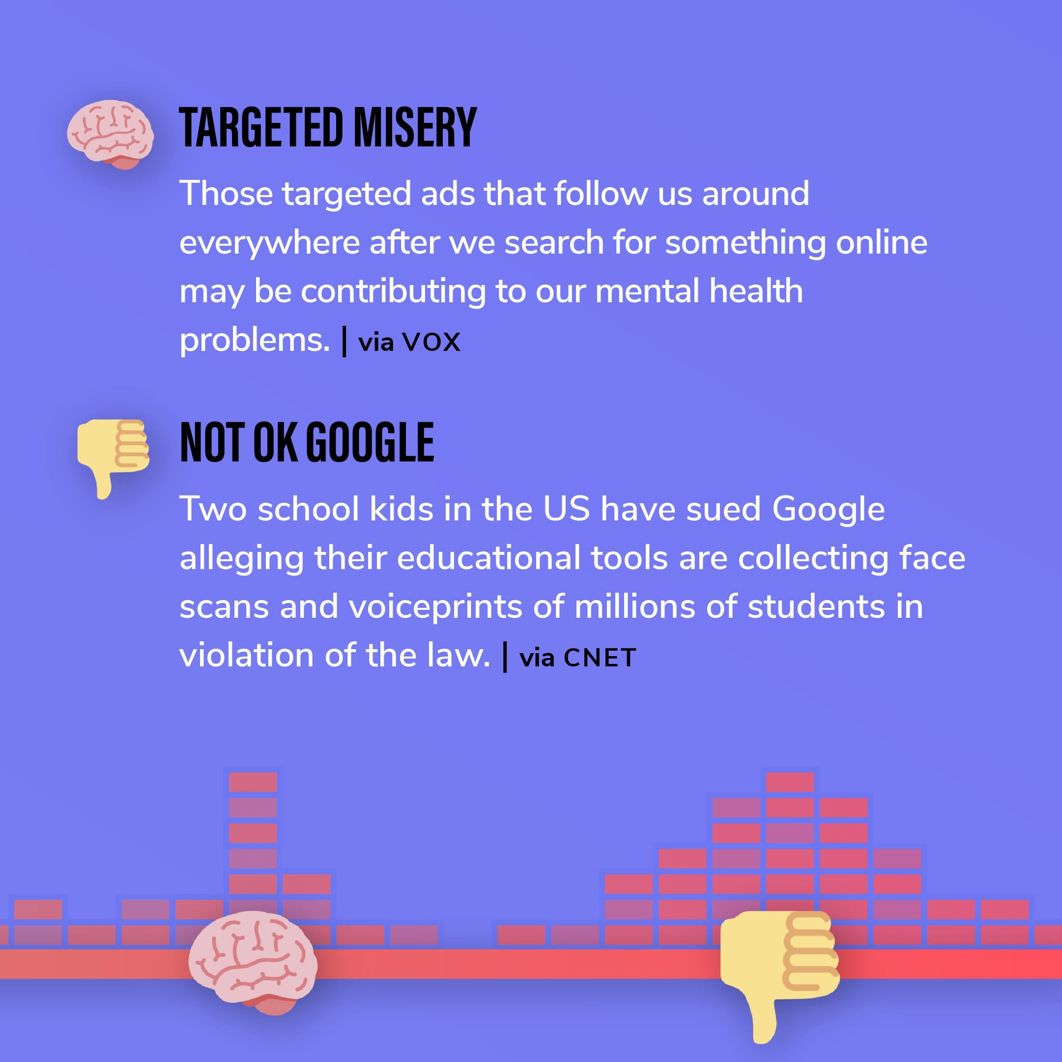 Story 11: Those targeted ads that follow us around everywhere after we search for something online may be contributing to our mental health problems. Story 12: Two school kids in the US have sued Google alleging their educational tools are collecting face scans and voiceprints of millions of students in violation of the law.