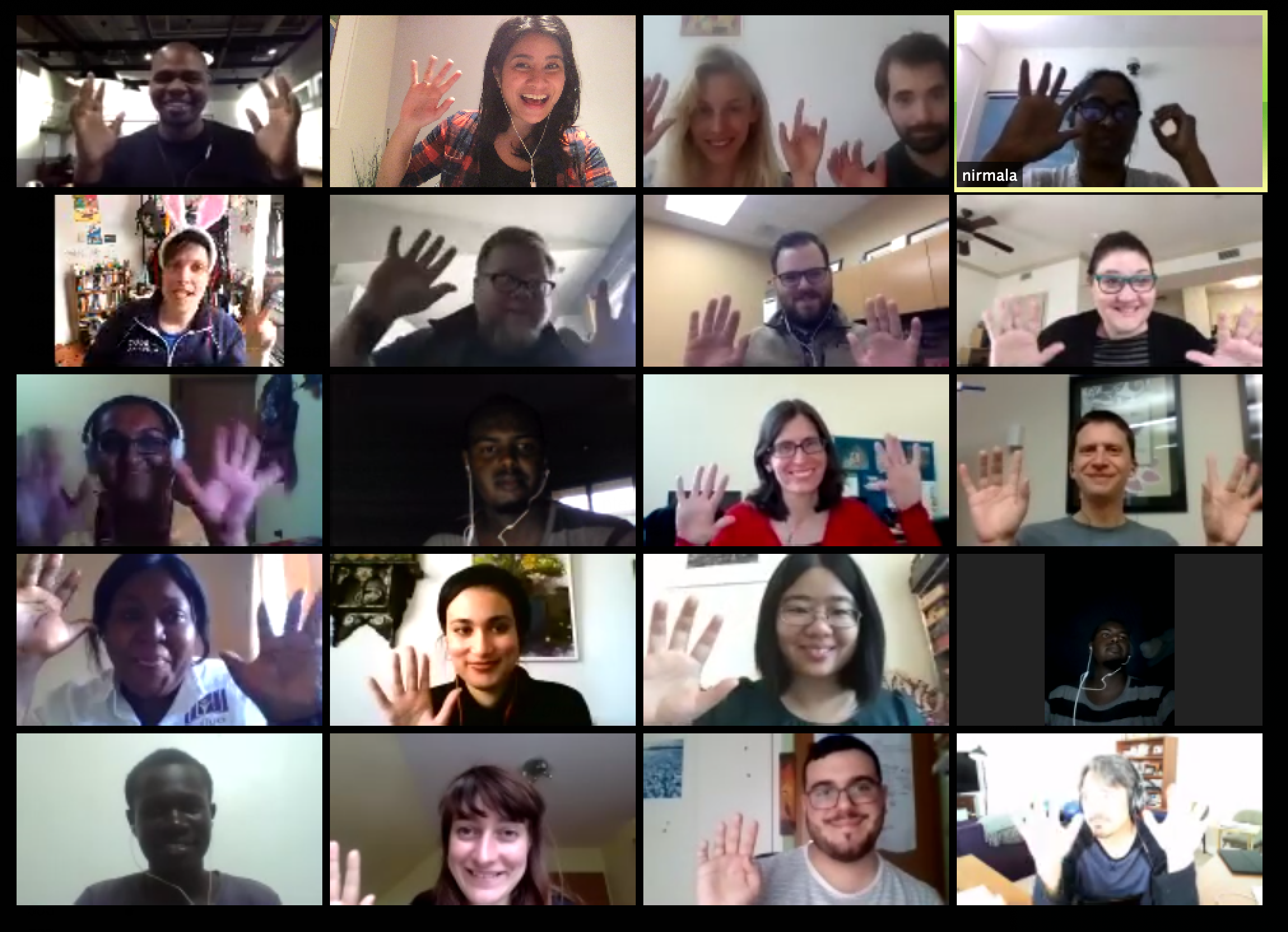 The final cohort call during Open Leaders 7, containing a Zoom call with 16 different videos in a 4x4 grid - everyone is waving at their camera.