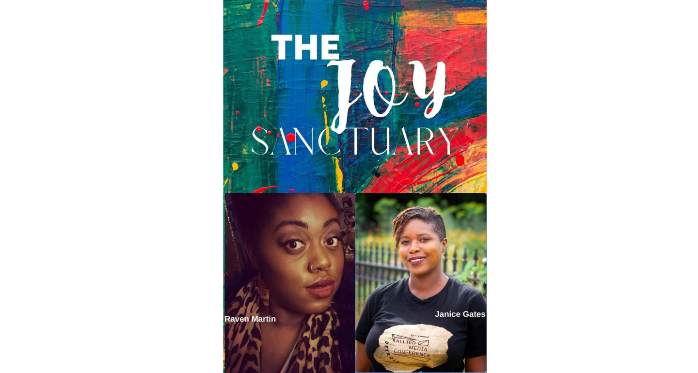 """a collage of images - one image on the top with colorful background that says """"The Joy Sanctuary"""" in white font. Two images on the bottom of people looking at the camera"""