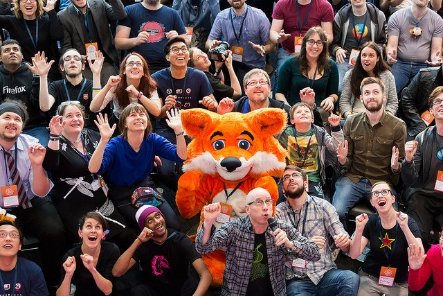 mozilla mascot foxy and friends at mozfest