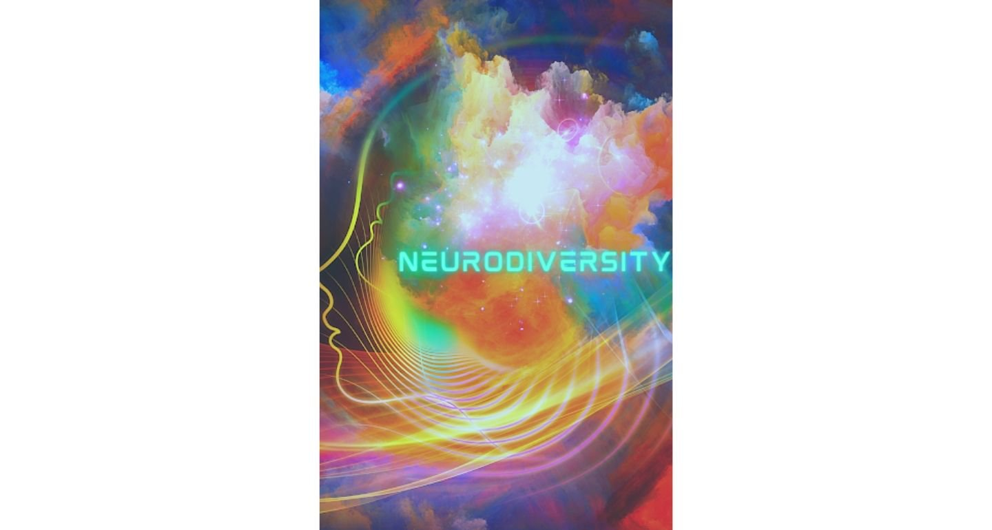 Colorful sky image with a silhouette of a face on the left side. Text reads Neurodiversity