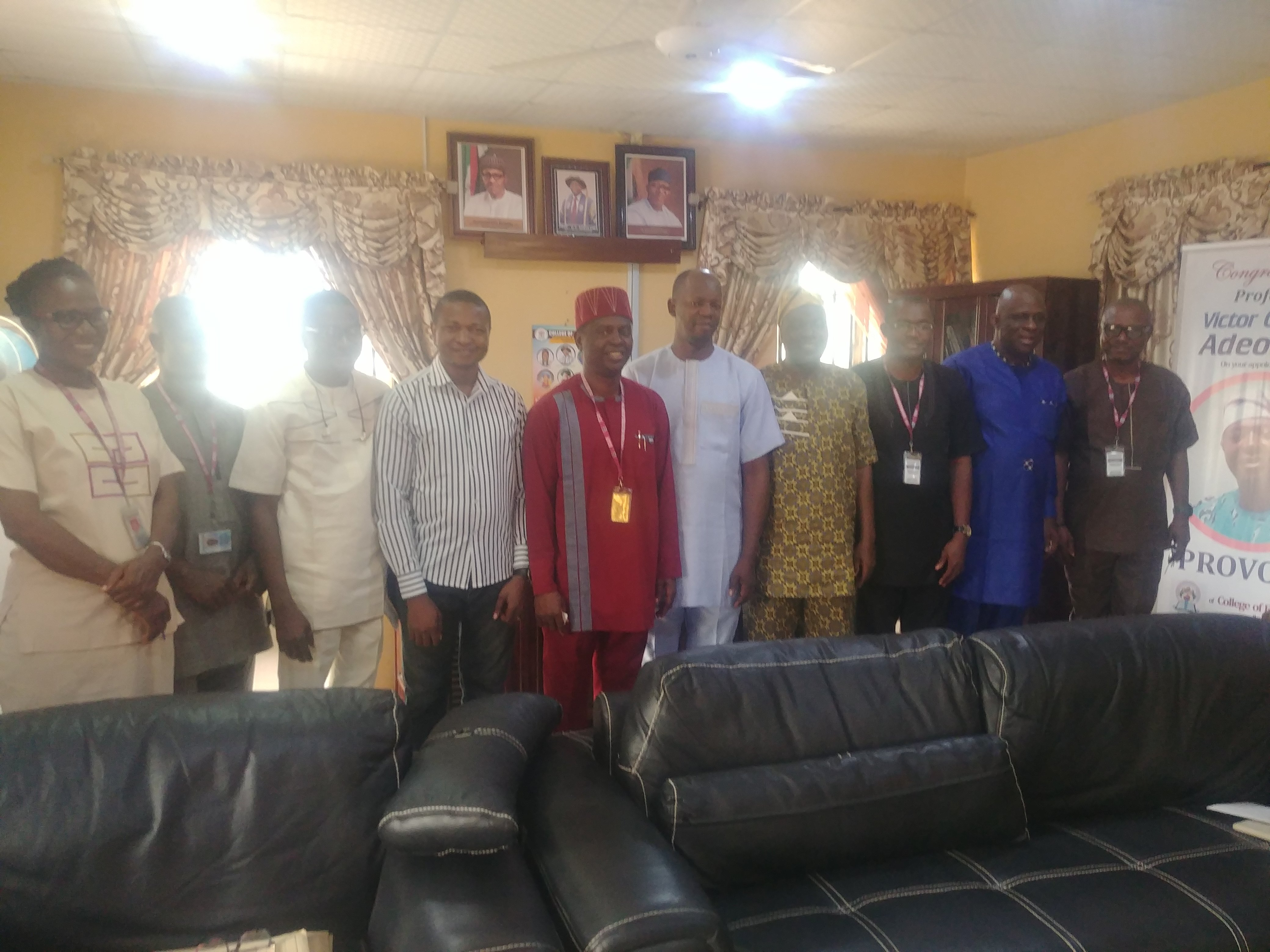 Meeting with the VC, Bamidele Olumilua University of Education, Science and Technology Ikere Ekiti -  Prof. Victor Olufemi Adeoluwa (5th from the left)