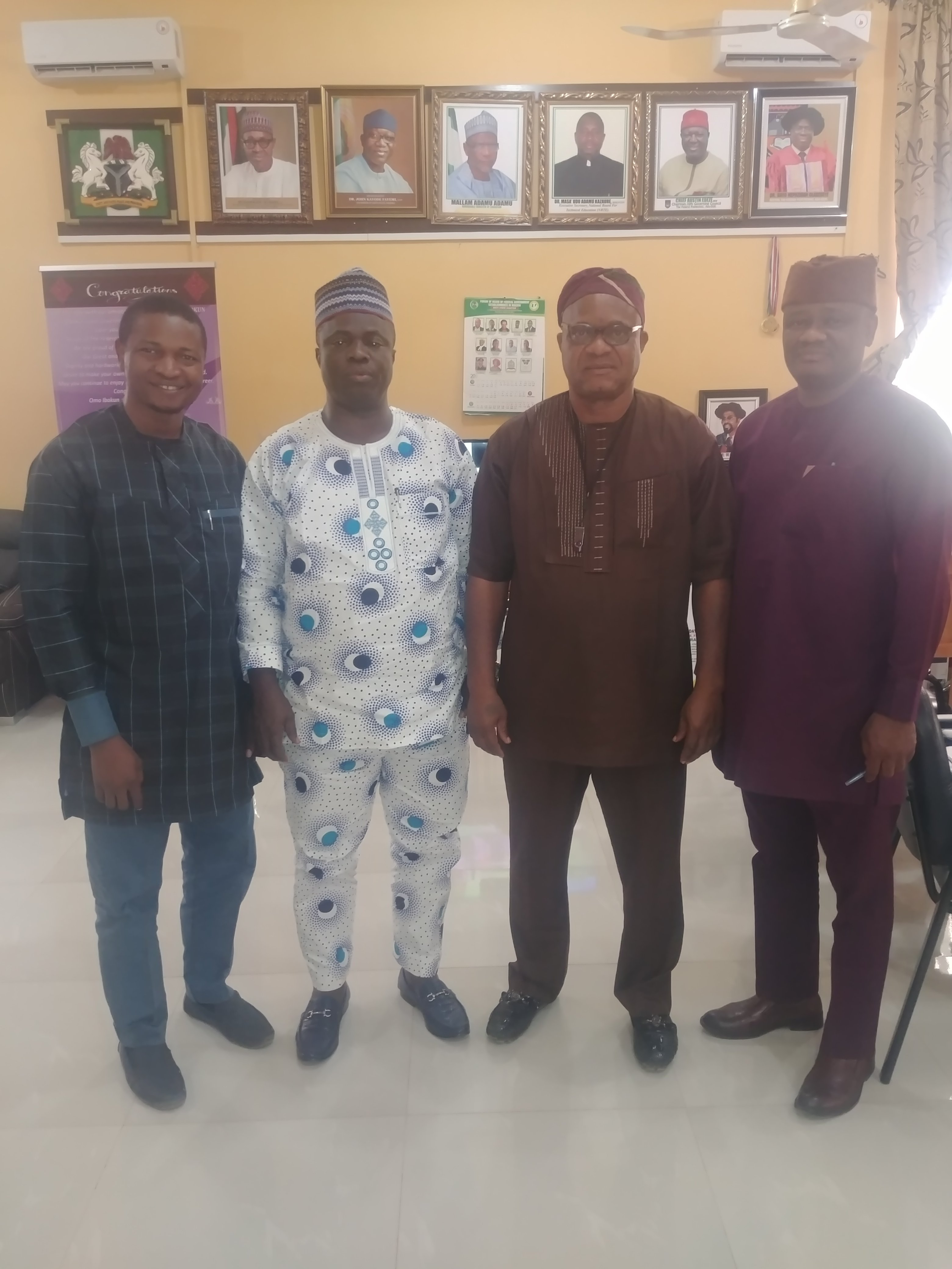 Meeting with the Rector, Federal Polytechnic Ado-Ekiti, Dr D.H Oladebeye and his team – (2nd  from the left)