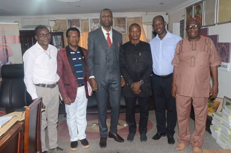 Meeting with the Vice Chancellor, Ekiti State University, Prof Edward Olorunsola Olanipekun and his team – (3rd  from the left)