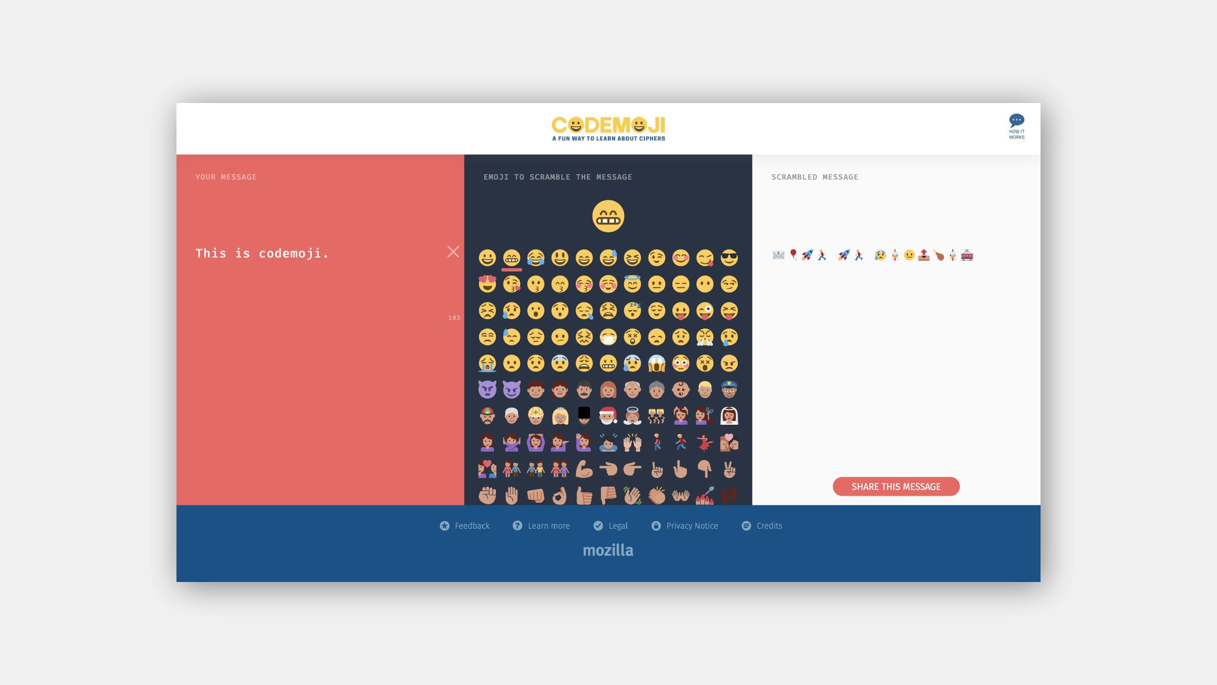 "A screenshot of Mozilla's Codemoji platform on desktop with the ""Your message"" written section on the left, an overview of all the emoji choices for the cipher in the middle, and the scrambled message on the right."