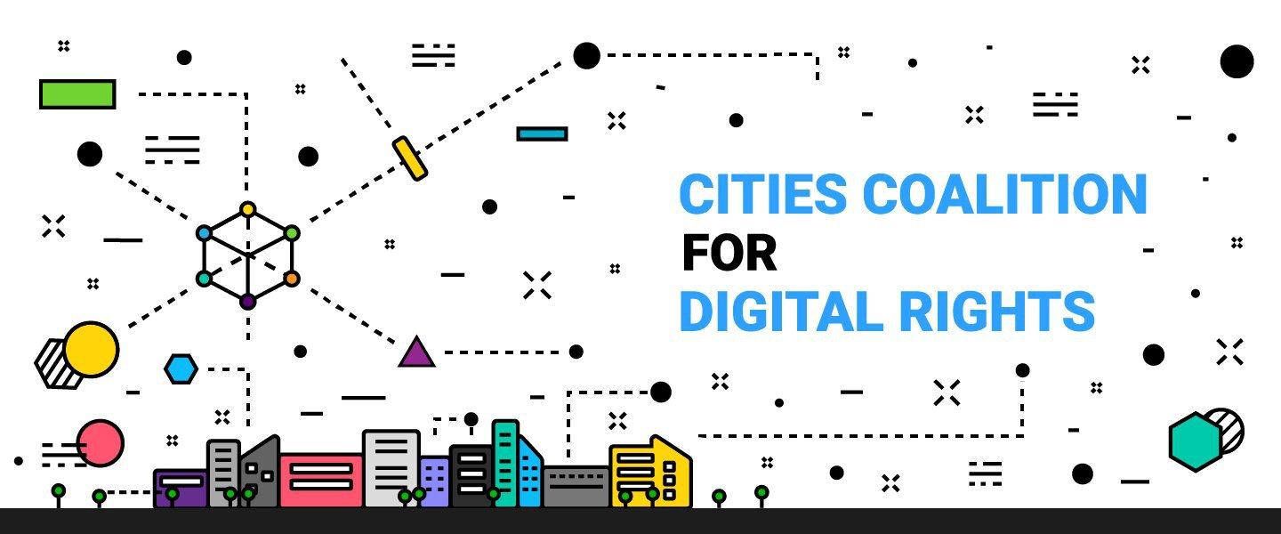 Logo for Cities Coalition for Digital Rights - white background with sporadic small icons scattered across the image and a colorful skyline near the bottom