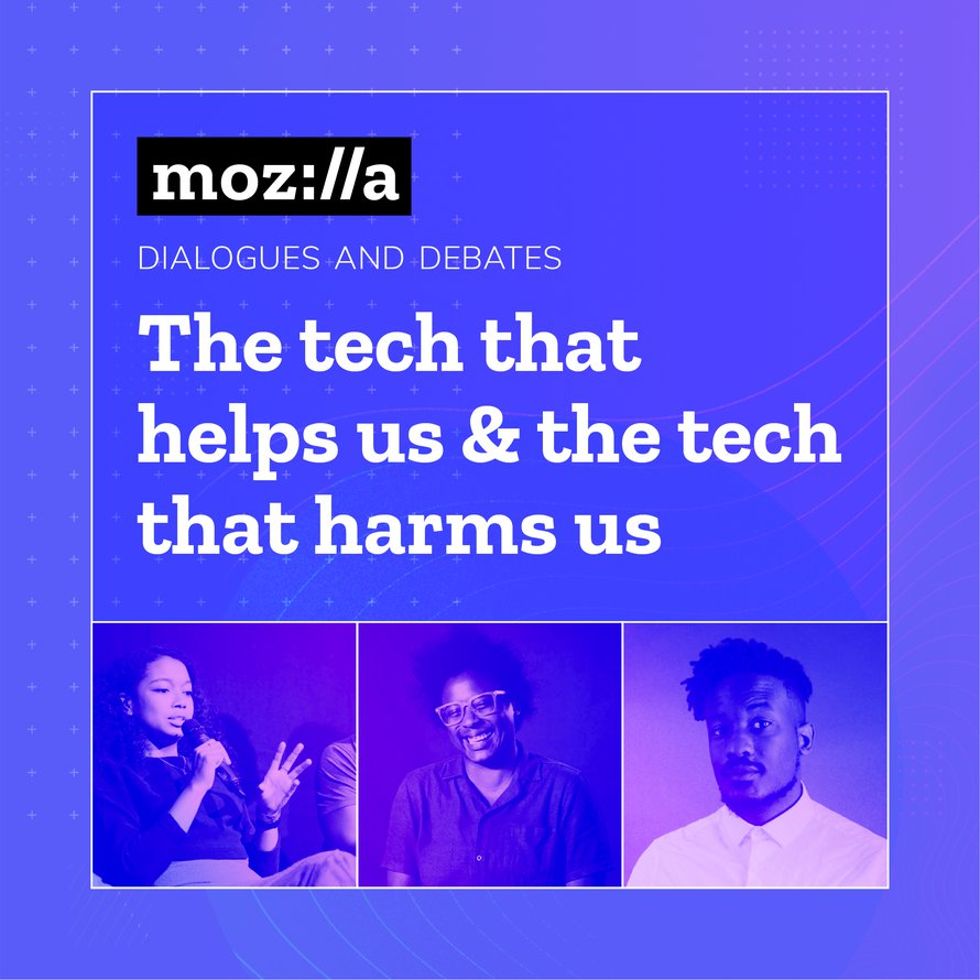 "The title card for the Dialogues and Debates titled 'The Tech That Helps Us & The Tech That Harms Us"", which includes images of each of the speakers."