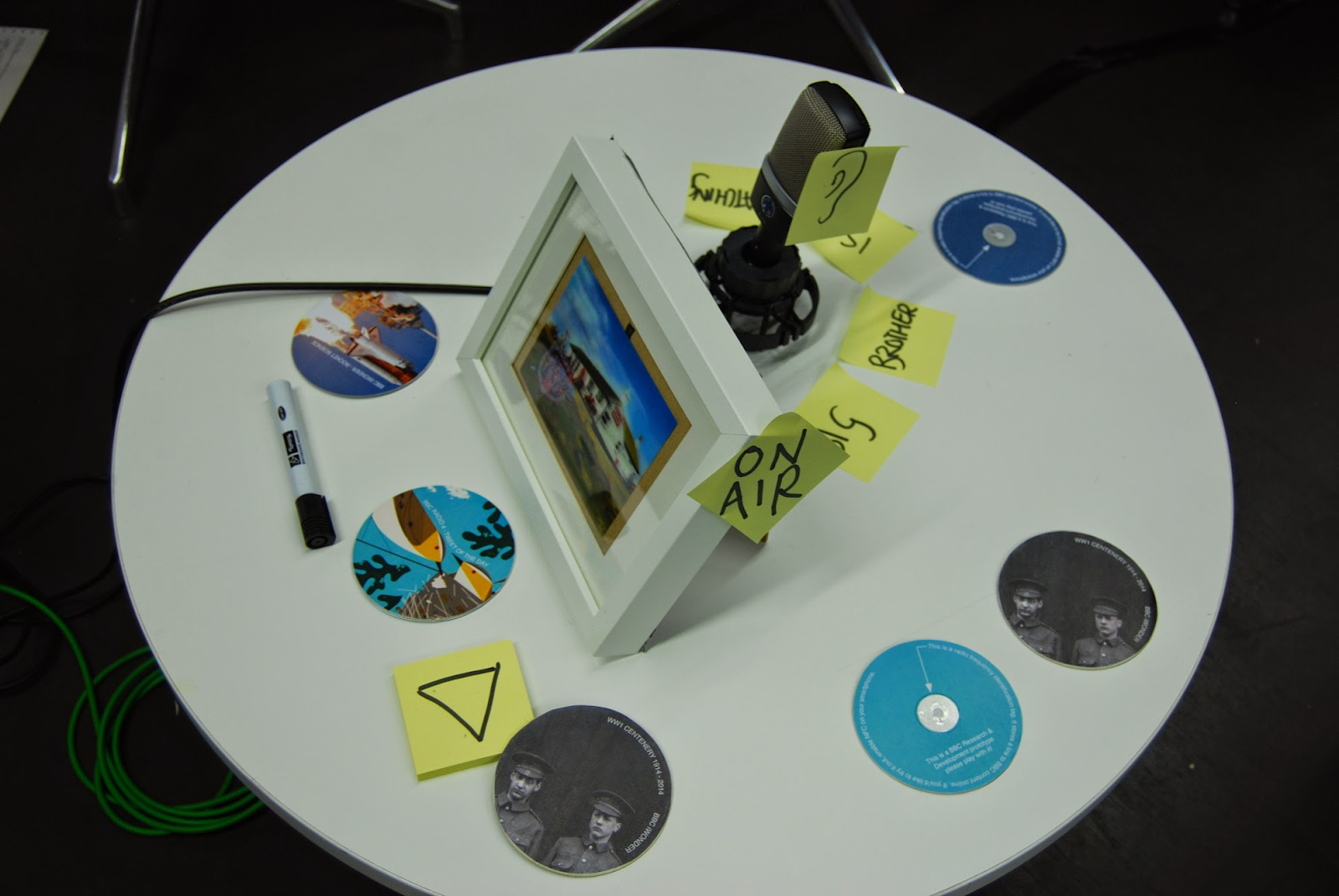 Table containing stickers, screen and microphone