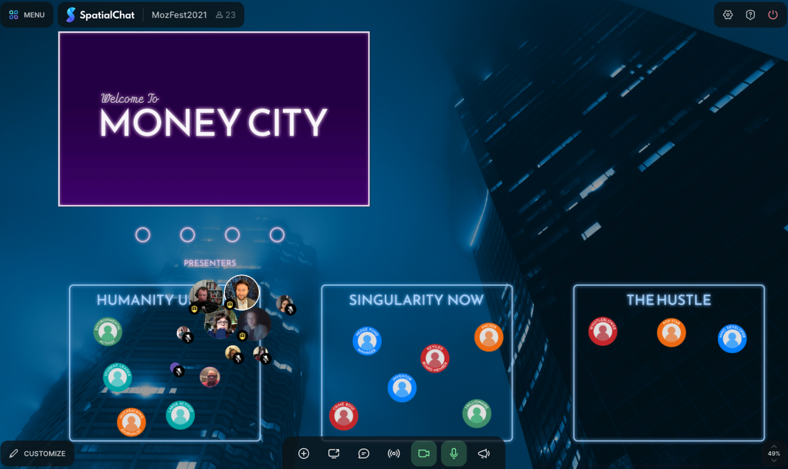 """Screenshot of computer screen during money simulation game - blue, dark background with a purple box in the left hand corner that says """"Money City"""" and other rectangles at the bottom where people icons are congregating."""