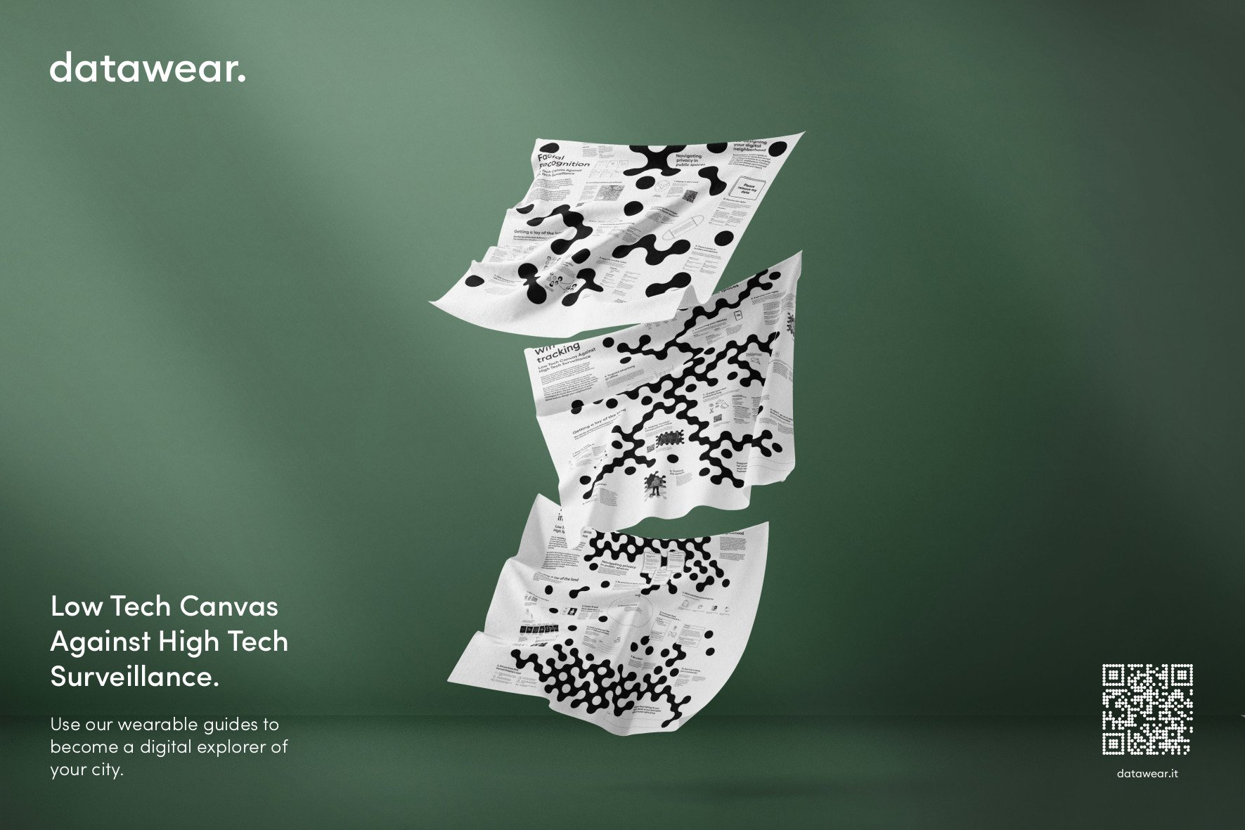 """An image of white canvas with black spots in front of a green background with the text """"data wear. 'Low Tech Canvas Against High Tech Surveillance'"""""""