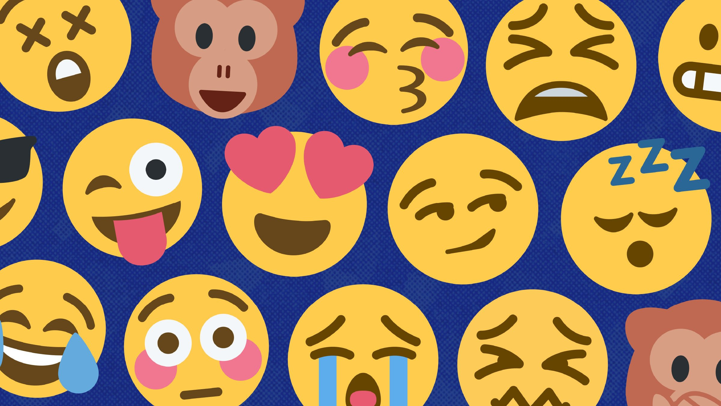 And collage of various yellow emoji faces smiling, laughing, and crying set over a blue background.