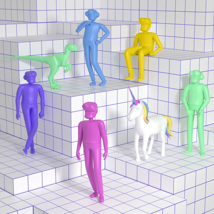 3D illustration of colorful people and animals
