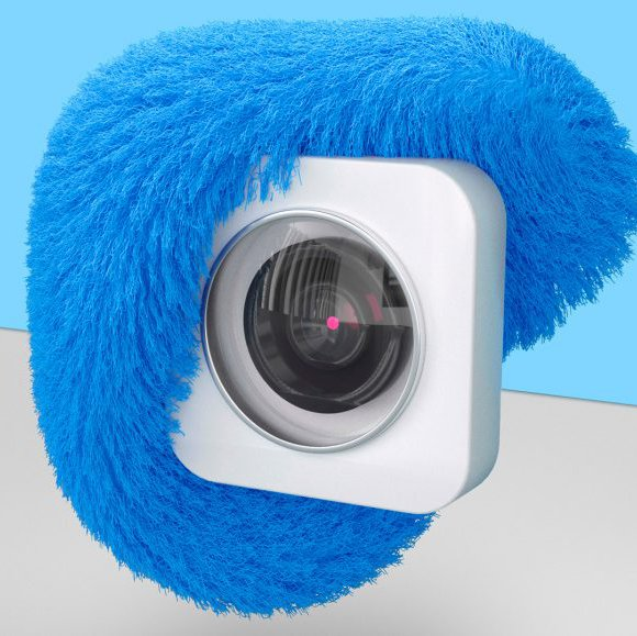 camera with a fur texture on top