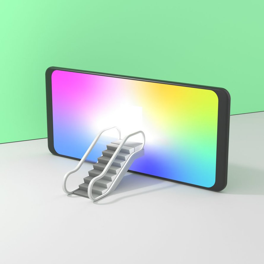 3D illustration of a cellphone with a stair