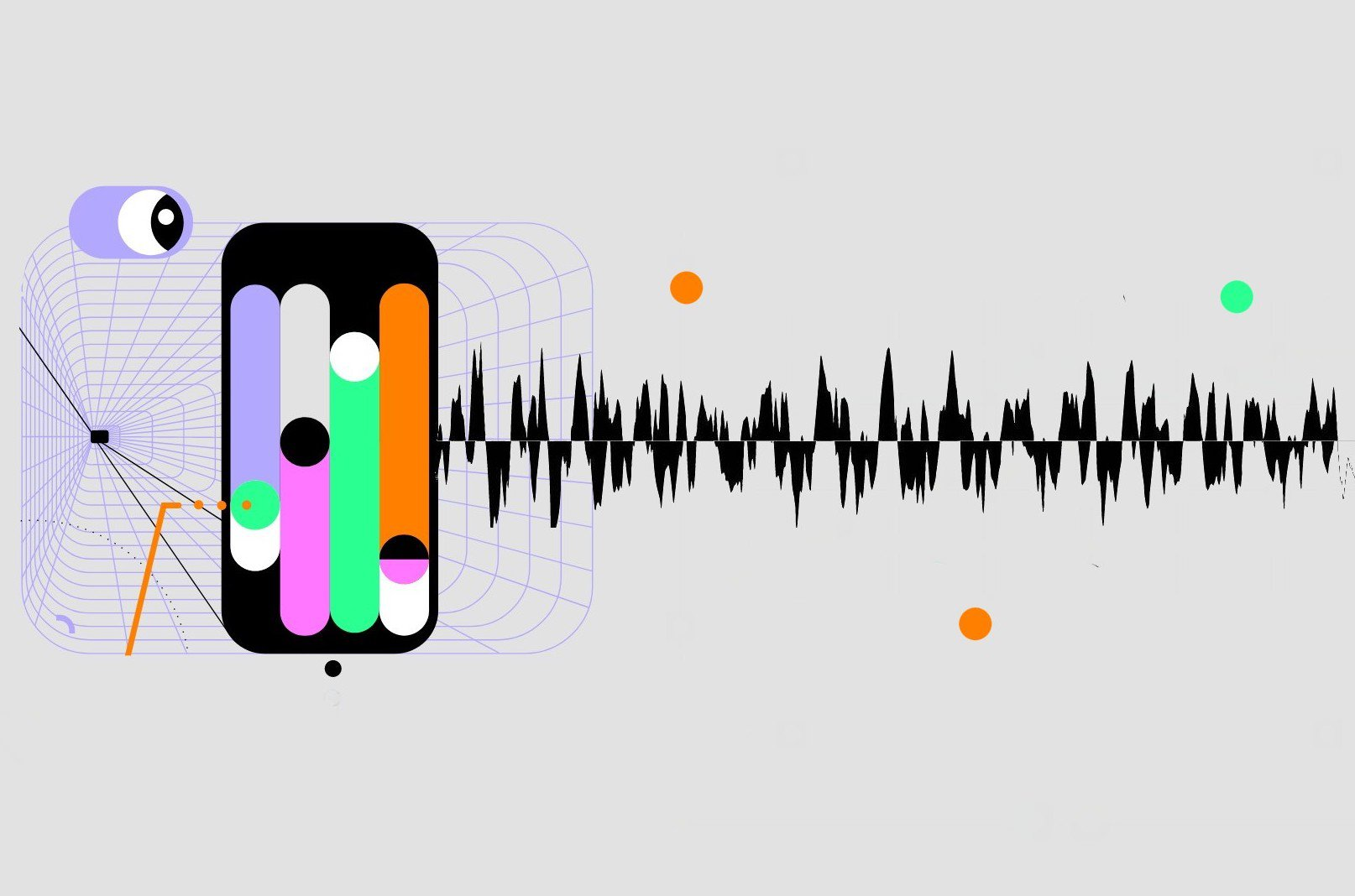 An illustration shows colorful images that resemble a smartphone and sound waves.