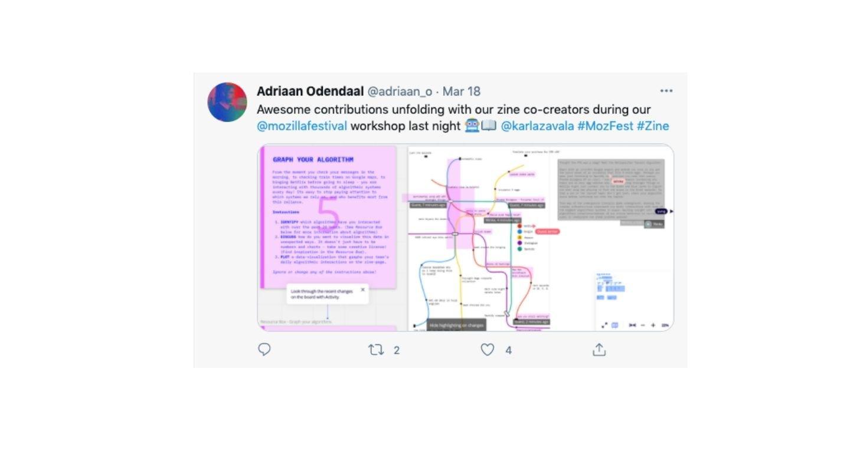 Screenshot of tweet sharing contributions to zine project