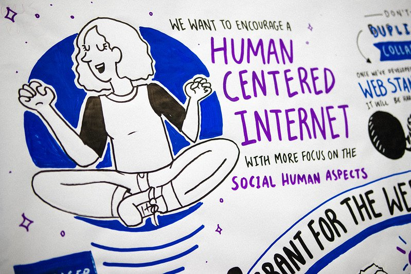 Photo by Connor Ballard-Pateman of  beautiful hand-drawn session notes from a Grant for the Web Session where participants called for Human Centered Internet