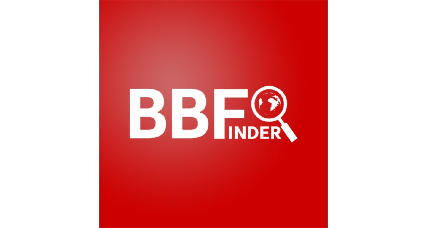 BBFInder logo - white text with a magnifying glass looking at the world on red background