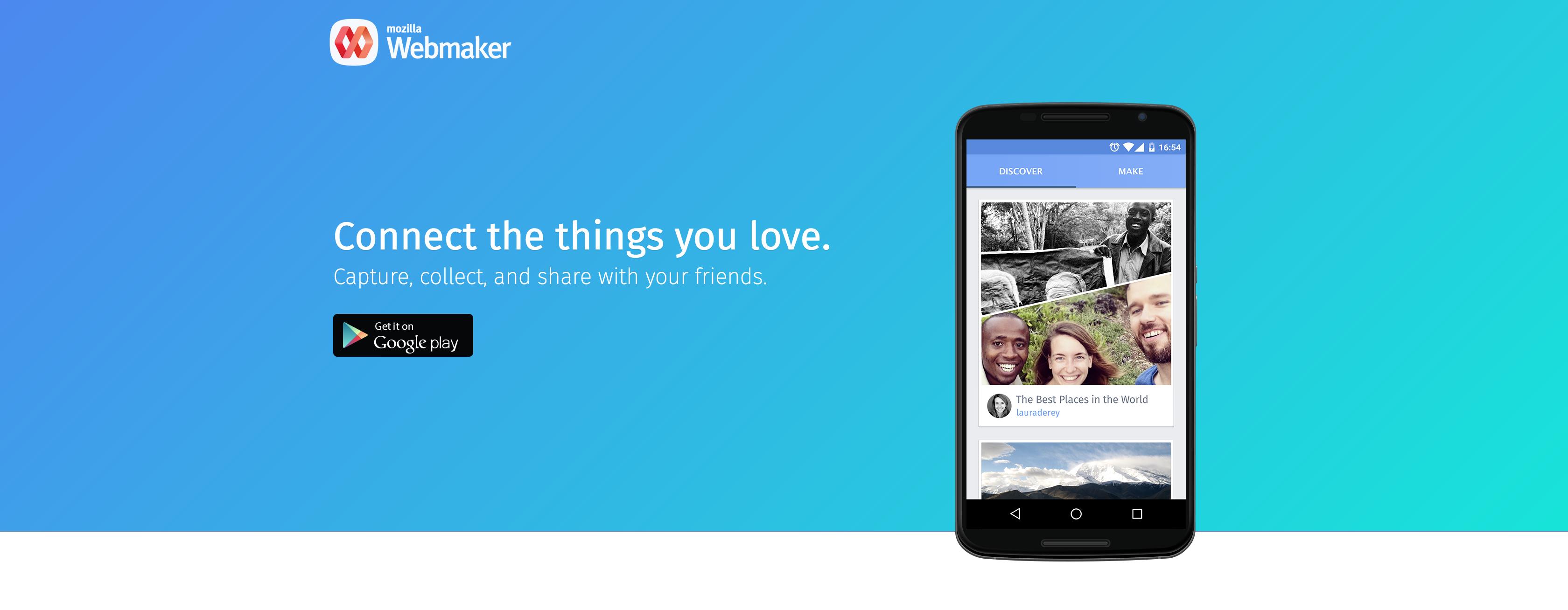 Webmaker homepage screenshot
