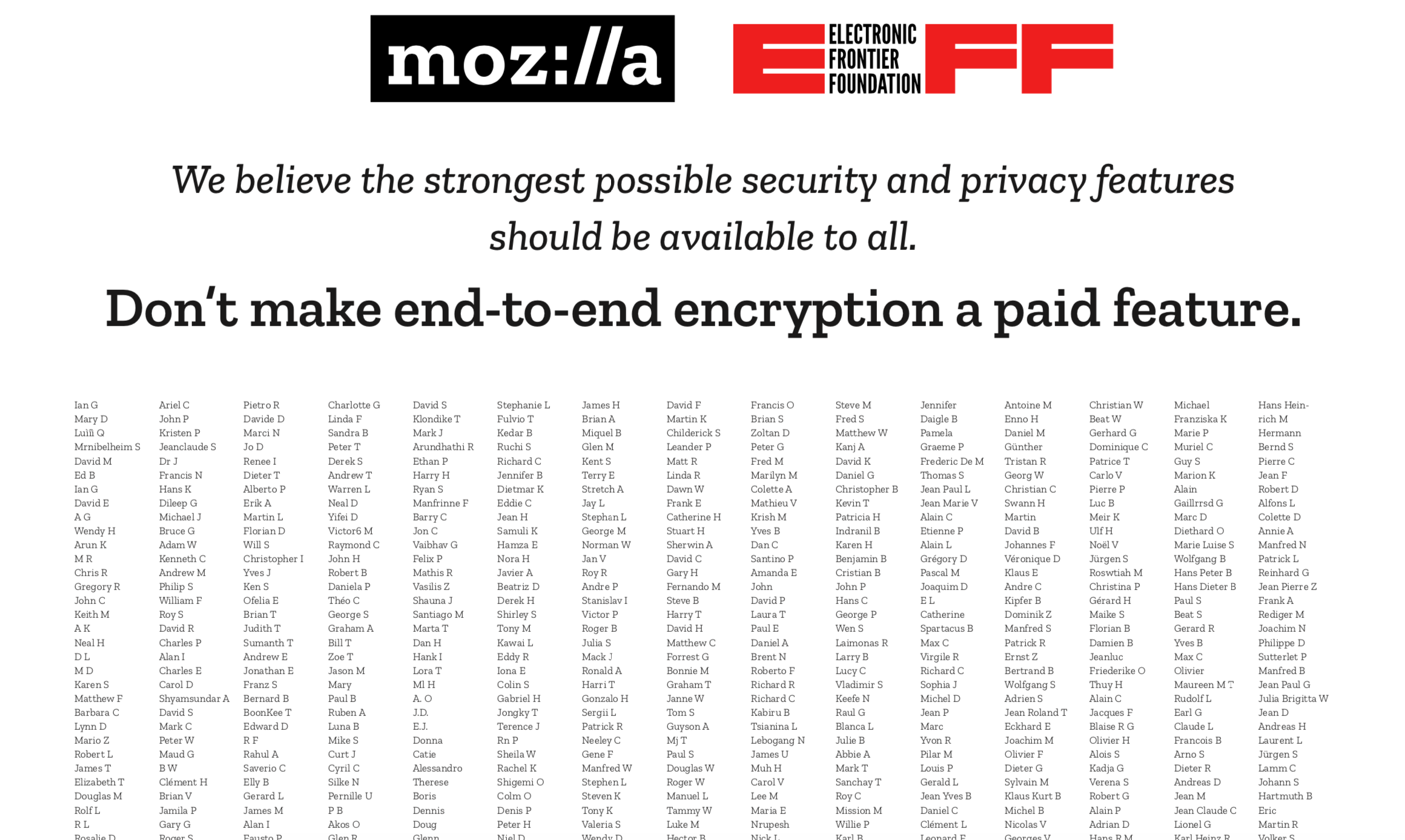 A screenshot from Mozilla and EFF's letter to Zoom