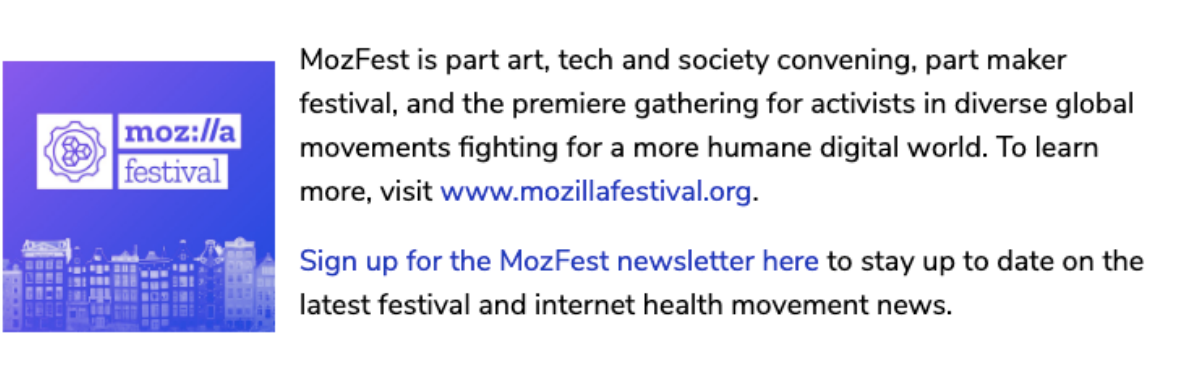 A description of MozFest and an image tile showing the festival name and gear logo above a stylized Amsterdam skyline.