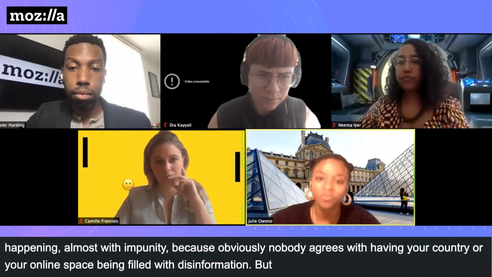 Picture of speakers during a live Dialogues and Debates online panel, with closed captioning