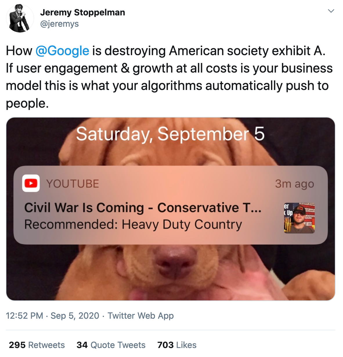 @jeremys on Twitter, How Google is destroying American society exhibit A.