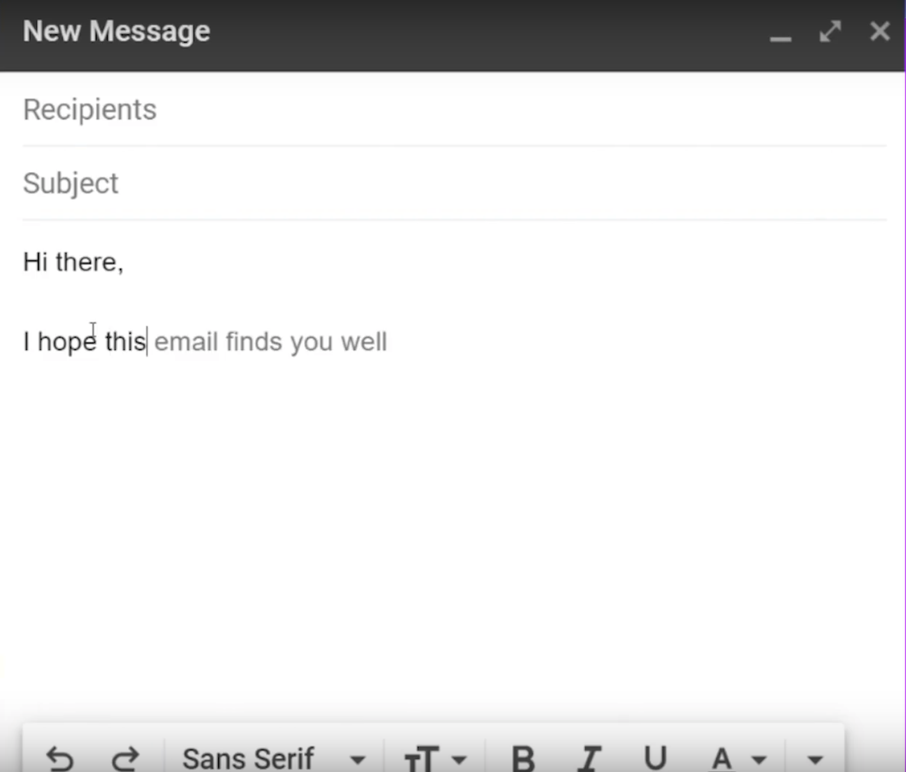 Gmails use of AI to autofill email sentences