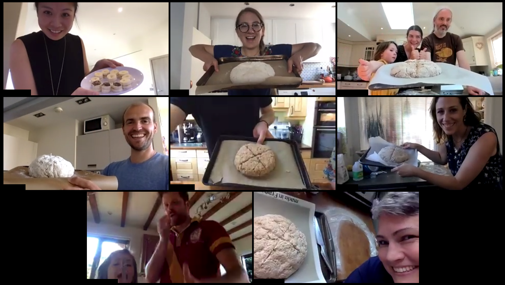 Image of participants of an Irish soda bread class on zoom