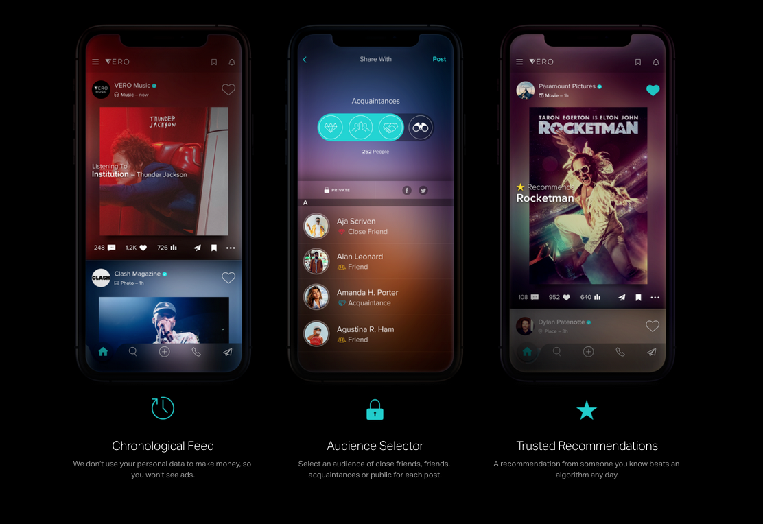 Three photos of a phone with the social platform Vero on the screen