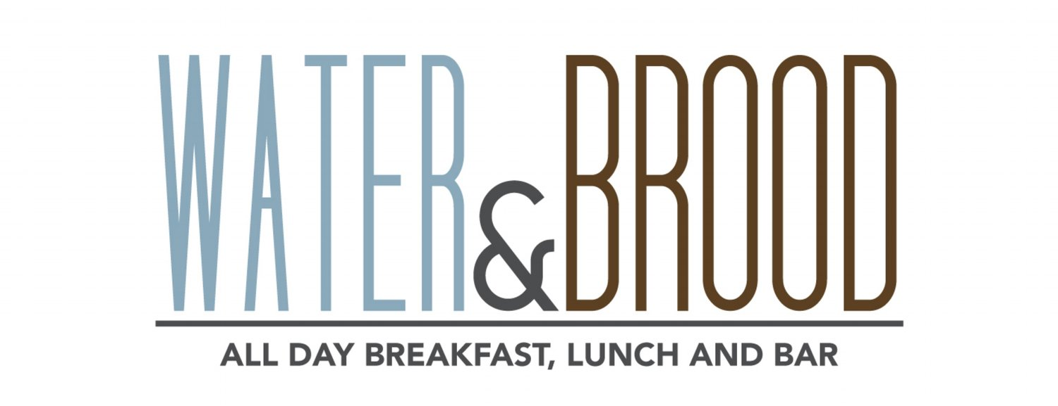 "Water & Brood logo in large letters with smaller tagline ""All Day Breakfast Lunch and Bar"""