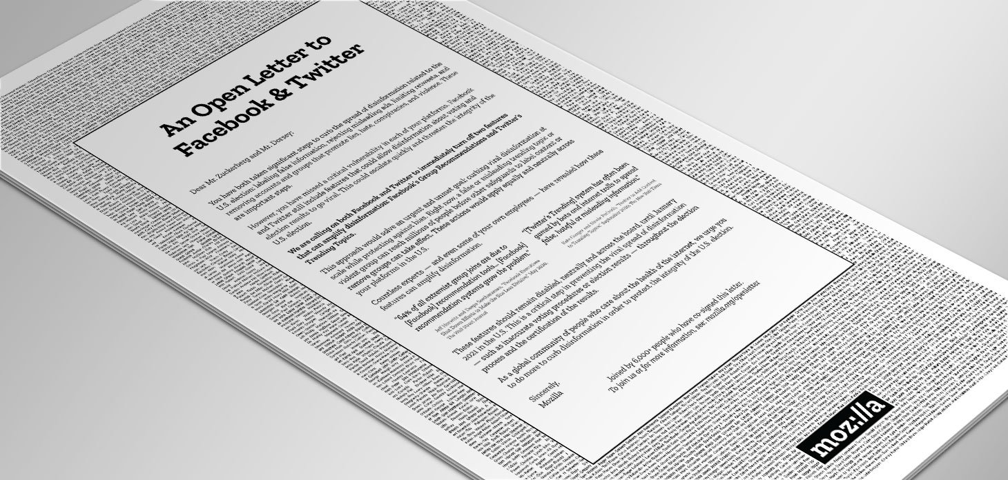 image of full page open letter advertisement
