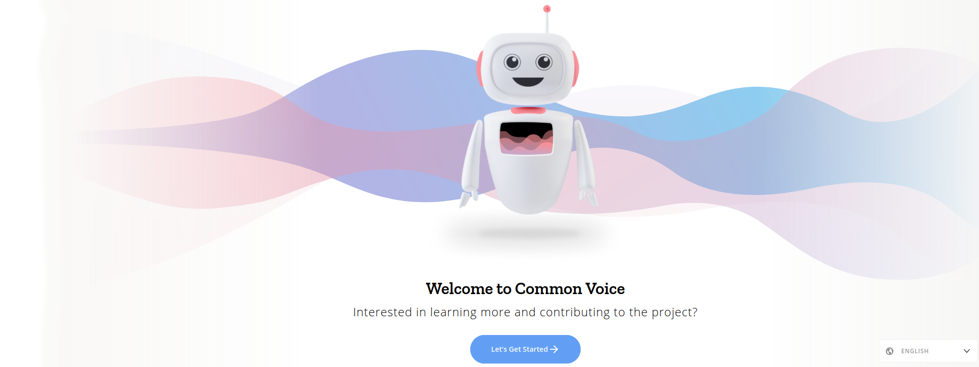 Front page of Common Voice demo mode