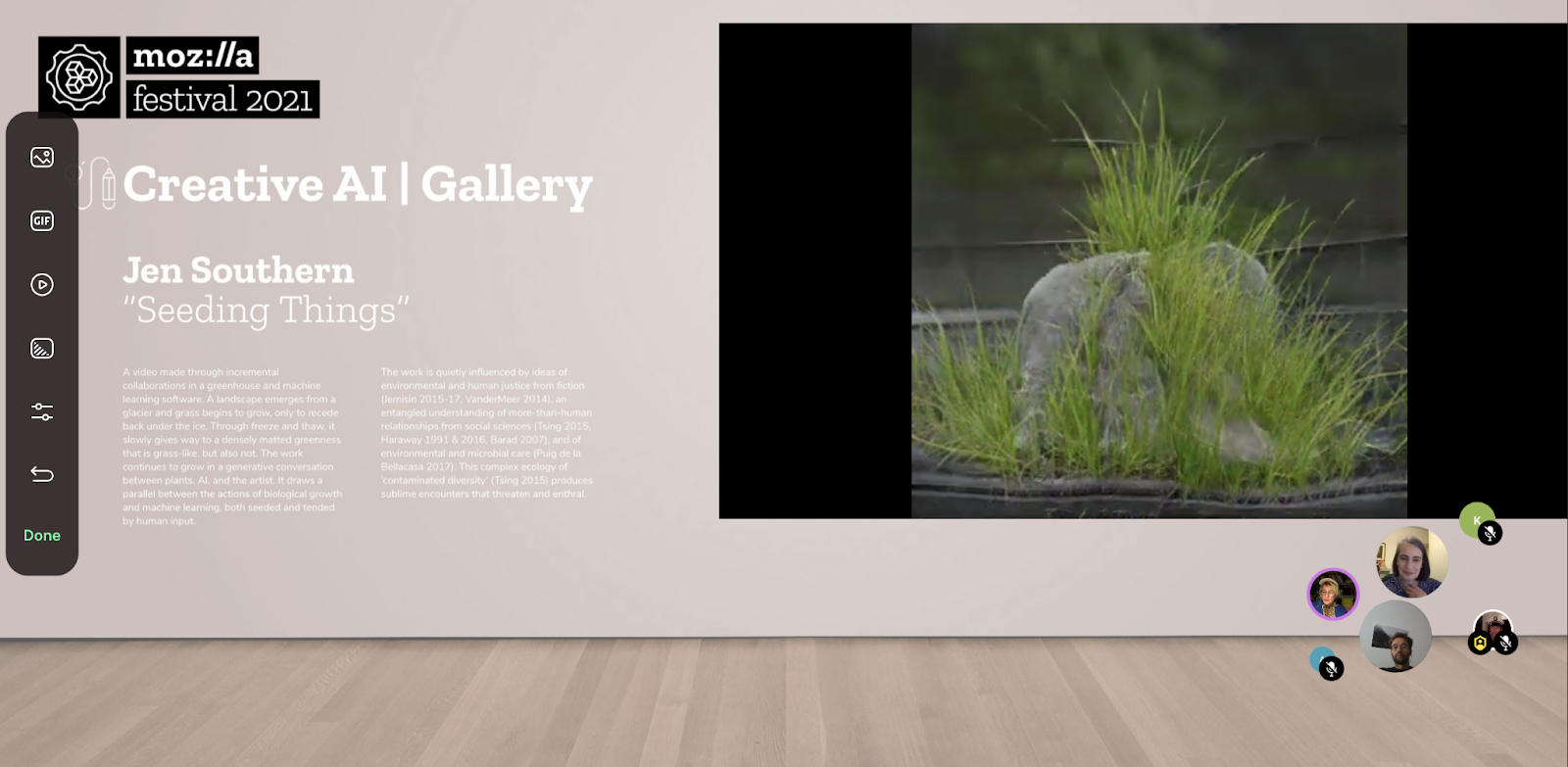 """Screenshot of a virtual room with wood floors and a beige wall that features an image of a plant on the right side. White text on the left side reads """"Creative AI Gallery 