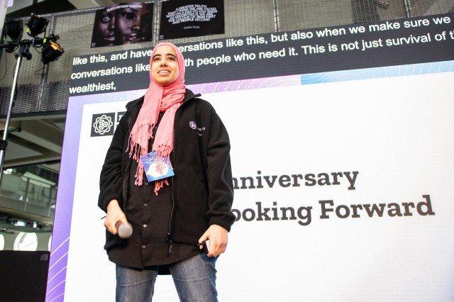 Elia AlKattan on the main stage at MozFest