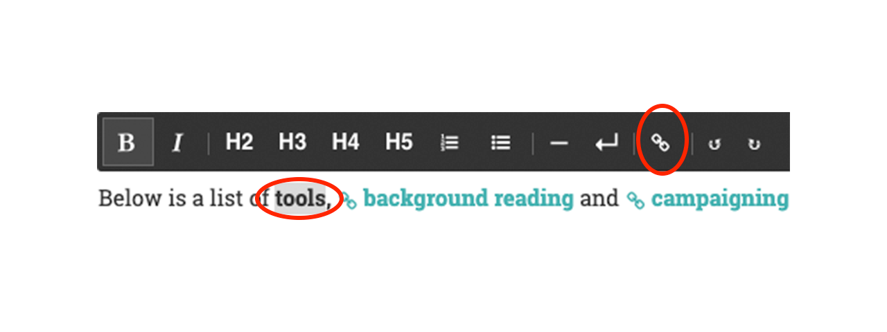 Image showing where to highlight and add link