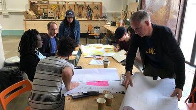 MozFest wranglers planning in a workshop