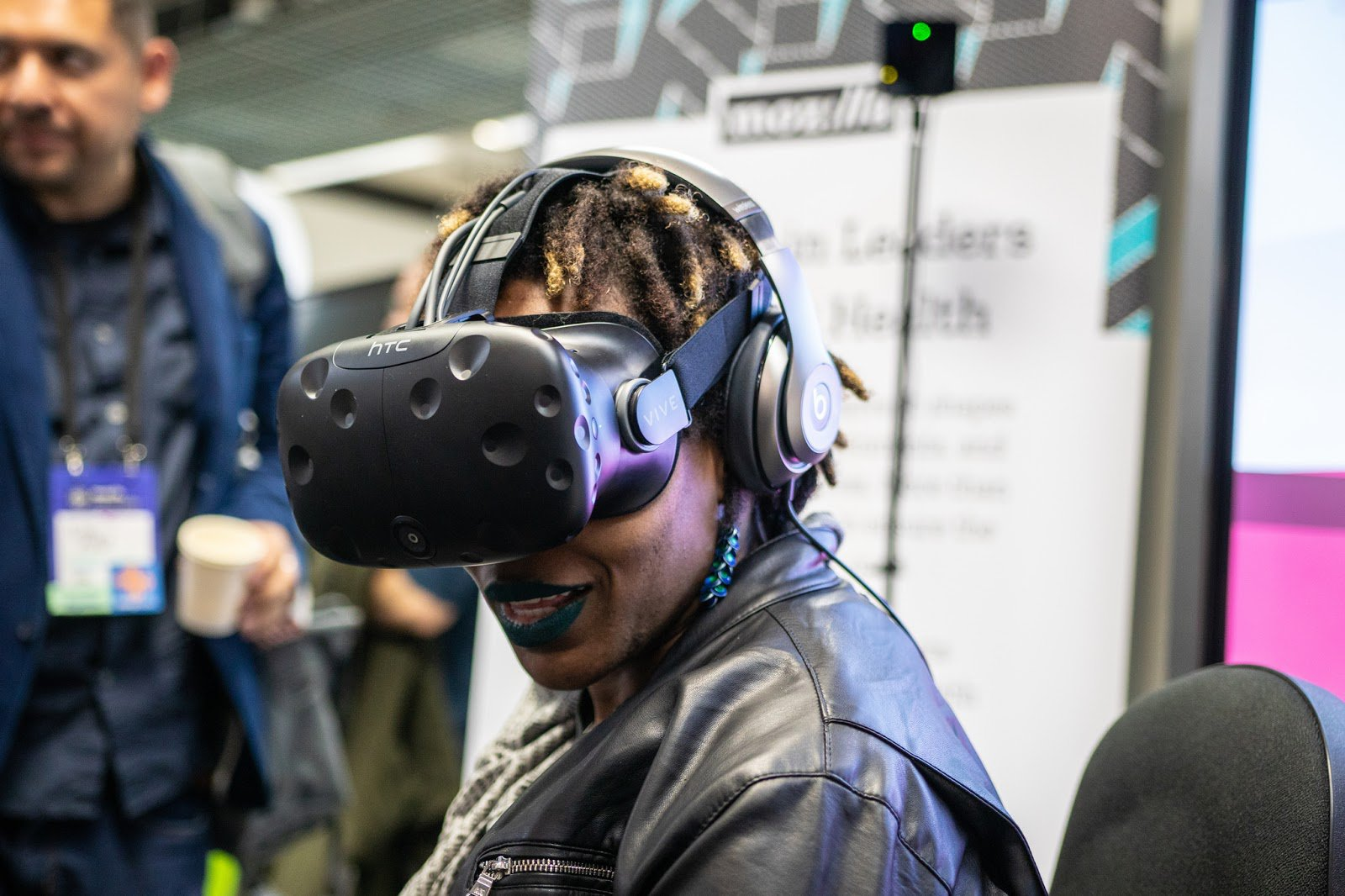 a participant trying out a VR headset