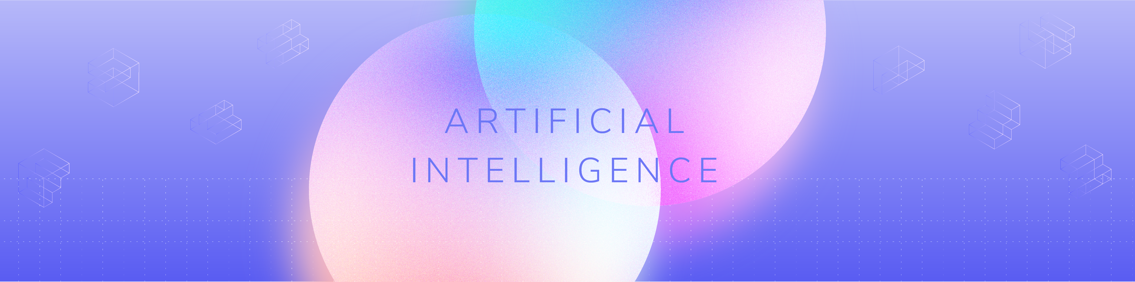 """Image with purple background, 2 discs and the words """"Artificial Intelligence"""""""